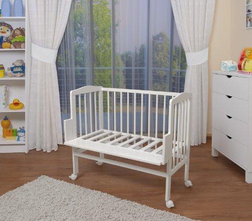 WALDIN Baby Beistellbett komplett mit Ausstattung, höhen-verstellbar, Buche Massiv-Holz weiß lackiert, 16 Modelle wählbar,Sterne grau