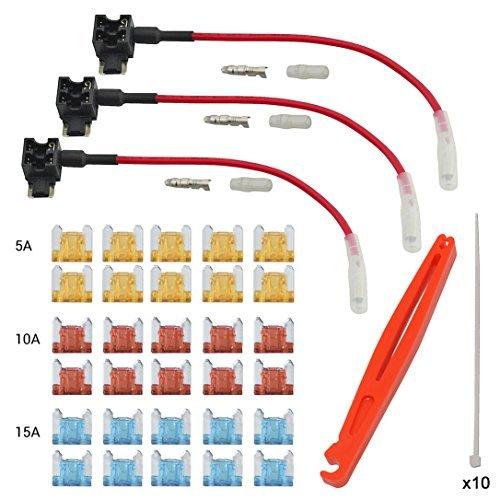 FOSHIO Voiture 12V / 24V Ajouter Un détenteur de fusible de Circuit Adaptateur Tap avec fusible à Double Profil avec fusible Inclut 5A 10A 15A Fusible et Faisceau de câbles différents