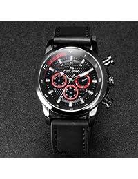 Relojes Hermosos, Correa f1 del cuero del diseño de cuarzo de los hombres del reloj V6 informal ( Color : Black/Red )