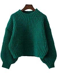 SGHTRHXUT suéter Blusa Corta de Lana suéter Joker Manga Larga Corta Lana Corta Hembra, Verde, código Uniforme