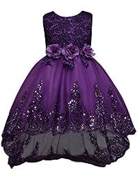 Vestidos Elegante Princesa con Las Flores de La Boda Para Las Niñas Vestido Posterior