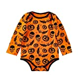 Riou Kinder Langarm Halloween Kostüm Top Set Baby Kleidung Set Neugeborenes Baby Mädchen Langarm Halloween Cartoon Schädel Kürbis Strampler Overall (Gelb, 73)