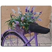 Souris Violet Fleurs dans un panier sur la Barrière de une image de vélo 34518074par MSD Tapis de bureau pour ordinateur portable Gaming tapis de souris personnalisé