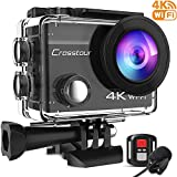Crosstour 4K 16MP Action Cam WIFI Telecomando Subacquea Camera con Microfono Esterno Anti-Agitazione Time-Lapse e 2 Batt