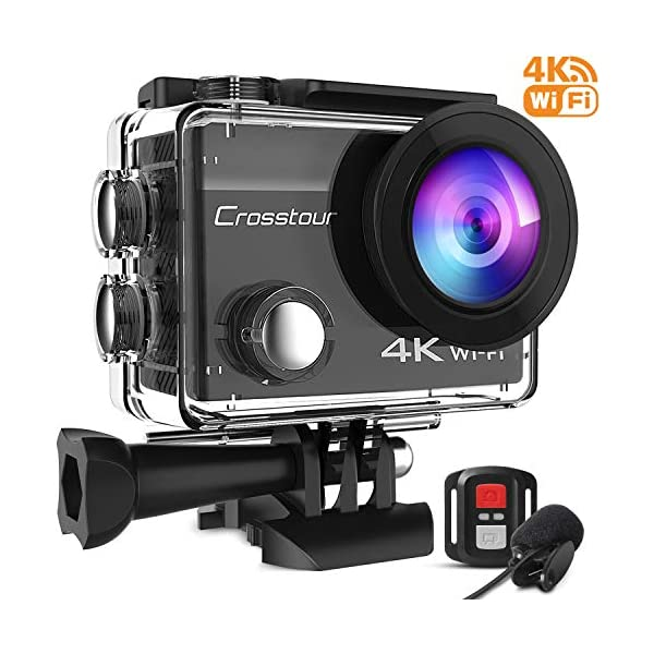 Crosstour 4K 20MP Action Camera Webcam WiFi EIS Waterproof 40M with External Microphone and Remote Control 1