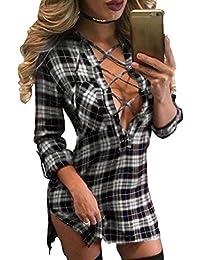 01479bb1f48ab Hibote Mujer Blusa Camisa a Cuadros Mujeres Blusas Camisetas de Manga Larga  con Cuello en V