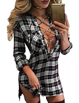 Primavera Camiseta para Mujer, Moda Loose Fit Blusa a Cuadros Sexy Cuello en V Manga Larga T-Shirt Casual Camisa...