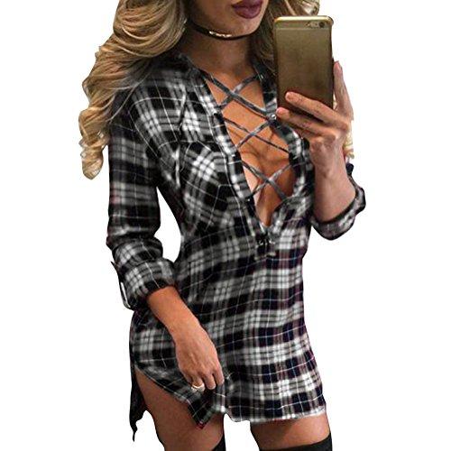 Juleya Camicetta Donna Camicia a Quadri Maniche Lunghe Camicetta con Scollo a V Magliette Donne Camicia Plaid Shirts Larghe e Casuali Bianco e nero
