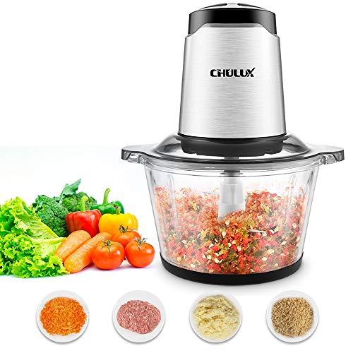 CHULUX Zerkleinerer elektrisch mit Glasbehälter, 4 Edelstahlklingen, 2 Geschwindigkeitsstufen, Multizerkleinerer für Fleisch Gemüse Salat 1,8L 300 W