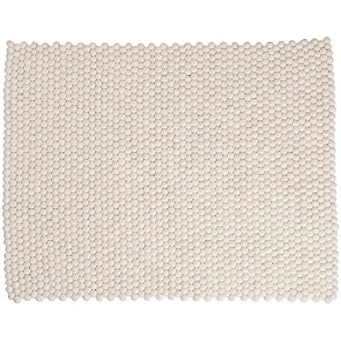 Shirisha: rectángulo: Pure White Diseñador escandinavo Alfombra hecha a mano de lana, Venta de separación (150cm x 200cm / 4' 11'' x 6' 6.7'')