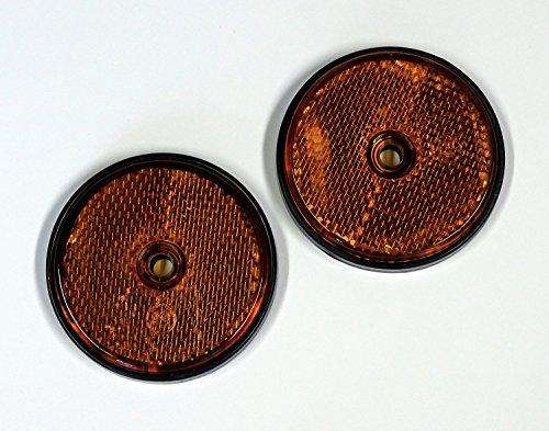 Rückstrahler Reflektor rund 2 Stück orange zum Anschrauben Ø 60 mm ~~~~~ schneller Versand innerhalb 24 Stunden ~~~~~