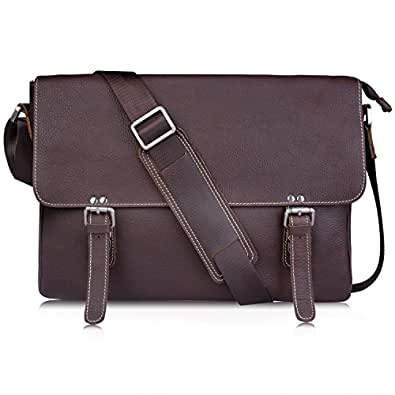AB Earth® Leather Messenger Crossbody shoulder Bag,M26 (Coffee)
