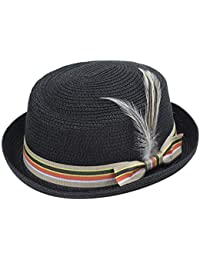 73826e42431e1c Coucoland Straw Boater Hat with Feather 1920s Mens Gatsby Hat Panama Straw  Sun Hats Men Roaring