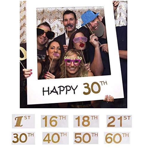 AMOYER Glückliche 1. 16. 18. 21. 30. 40. 50. 60. DIY Papier Bilderrahmen Ausschnitte Photo Booth Props für Geburtstags-Party-Dekoration (18)