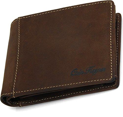 Echtleder Herren Portemonnaie handgefertigte Geldbörse aus weichem sehr hochwertigem Leder Vintage in Geschenkbox - CoinKeeper Dunkelbraun
