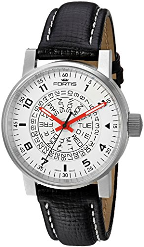 Fortis Men's 623.10.52 L.01 Spacematic Classic White-Red Analog Display Automatic Self Wind Black Watch