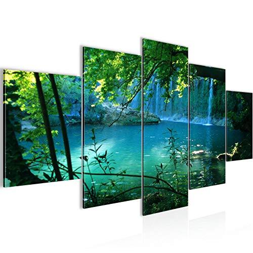 Bilder Wasserfall Landschaft Wandbild 200 x 100 cm Vlies - Leinwand Bild XXL Format Wandbilder Wohnzimmer Wohnung Deko Kunstdrucke Türkis 5 Teilig - MADE IN GERMANY - Fertig zum Aufhängen 602851a -