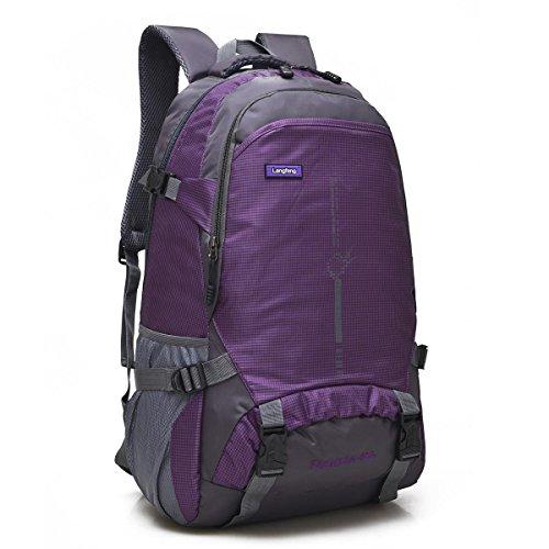 Bergsteigen Backpack Erholung frei Oxford Fabric Large Kapazität Multifunktions Rucksack Klettern reisen ritt Tasche Business Student Pack 6Colors H58 x W35 x T20 CM deep purple