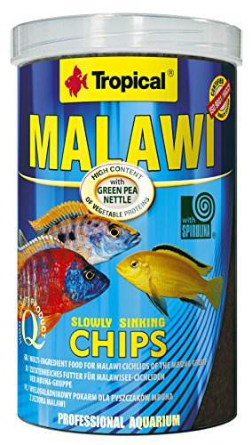 Chip-basis (Tropical Malawi Mbuna Chips für Malawisee-Cichliden der Mbuna-Gruppe - zutatenreiches Futter, langsam sinkender Chips für die tägliche Fütterung - 1000ml/520g)