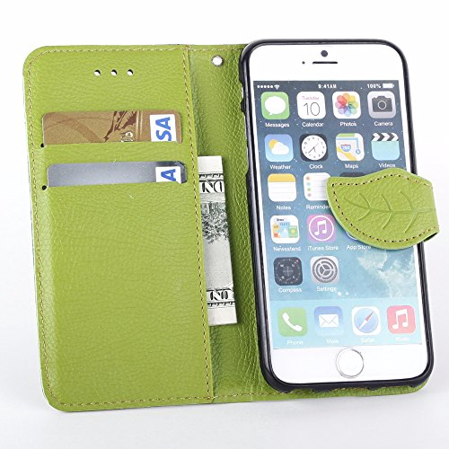 UKDANDANWEI Apple iPhone 6 PLUS étui,Les feuilles de texture Pu Leather Case avec Dragonne Corde Flip Wallet Protective Case Cover avec Fonction Stand et Fentes de Carte de Crédit Flexible Souple Tpu  Brun