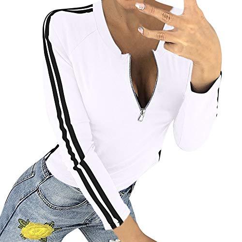 G Frauen-reizvolle Reißverschluss-öffnende O-Ansatz Gestreifte Lange Hülsen-T-Shirt Spitzenbluse Herbst und Winter Sweatshirt(Weiß,EU:38/CN-L) ()