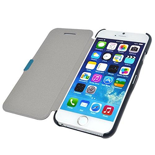 """iProtect Apple iPhone 6 (4,7"""") 6s Hülle im ultra dünnen Bookstyle mit Magnetverschluss Kunstleder Wallet Case blau Slim Bookstyle Magnetisch Schwarz"""