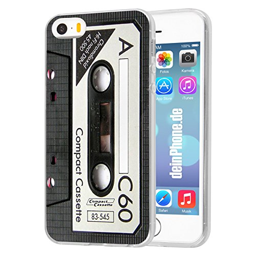 deinPhone Apple iPhone 5 5S Silikon Hülle Case Retro Kassette Schwarz