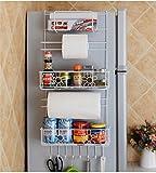 Kitrack Cucina Frigorifero Rack Side Shelf Pratico Supporto Laterale Multiuso Metallo