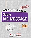 Annales corrigées du score IAE-MESSAGE