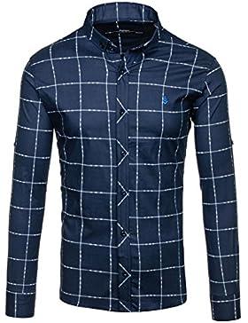 BOLF – Camicia a quadri – Maniche lunghe – Casual – Slim fit – Motivo – Uomo [2B2]