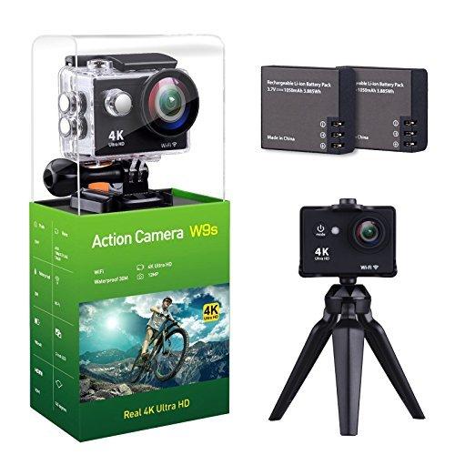 nzace W9S Action Kamera 4K Full HD WiFi Wasserdichte Sport DV Camcorder-mit 4K 10fps 1080p 30fps 720P 30FPS Video 12MP Foto und 140Weitwinkel Objektiv mit 11Befestigungen Kit 2Batterien Schwarz