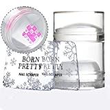 Born Pretty Dual XL Clear Jelly Stamper Silicone Head with Rhinestone Cap & 2 Scrapers Manicure Nail Art Tool