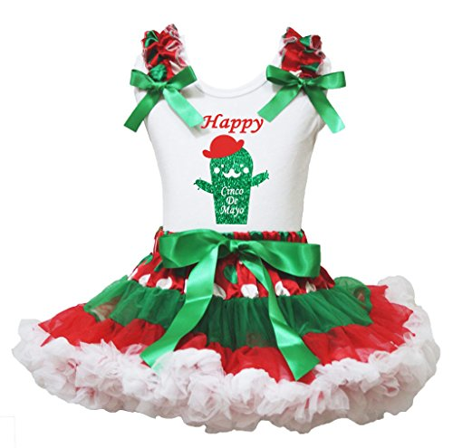 Petitebelle Glückliche Kaktus Cinco De Mayo Hemd Rot Grün Rock Outfit Set 1-8Y 1-2 Jahre Rosa