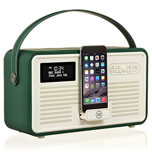 VQ Retro Mk II DAB/DAB+ Digital- und FM-Radio mit Bluetooth, Lightning Dock und Weckfunktion - Smaragdgrün Fm-transmitter Charge Dock