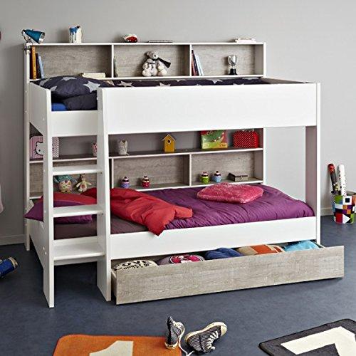 Etagenbett Darius EN geprüft weiß inkl Bettkasten + Regale + Lattenrost-Bodenplatten Kinderzimmer Hochbett Doppelbett Kinderbett Stockbett