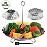 Vegetable Steamer Basket, Stainless Steel Collapsible Steamer Insert with Detachable Handle and Non-Slip