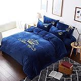 Vier Sätze von Winter bestickte samt Dicken warmen Cashmere Flanell Crystal Baby Coral Kaschmir, Baby Blue [Krone], 2,0 m Bett [Quilt 220 * 240 cm]