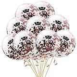 Oblique Unique® Konfetti Luftballon Set für 18. Geburtstag Feier Party Ballons 10 Stück Rosegold