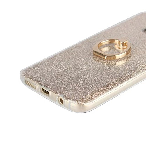 Luxus Bling Sparkle Style Case, Soft TPU [Silikon] Flexible Glitter Back Cover mit Fingerring Stand für Samsung Galaxy S7 ( Color : White ) Black