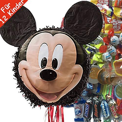 Pinata-Set * Mickey Mouse * mit riesengroßer Piñata + 100-teiliges Süßigkeiten-Füllung No.1 von Carpeta | Spanische Zugpinata für bis zu 20 Kinder | Tolles Disney Spiel für Kindergeburtstag (1. Geburtstag Von Mickey Mouse Einladungen)