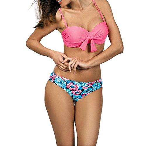 Tankini Sexy,Kword Bikini Set Da Donna Fasciatura Push-Up Imbottito Reggiseno Swimwear Costume Da Bagno A Triangolo Tankini Rosa