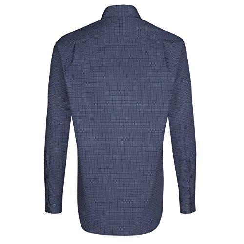 Seidensticker - Herren Hemd, Bügelleicht, Comfort, Schwarze Rose mit Kent Kragen in Blau/Print (01.311950) Blau(17)
