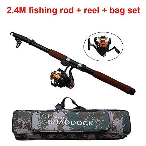 Shadock Fishing® Spinnrute und Spinnrolle sowie Tragetasche - tragbare Teleskop-Angelrute aus Kohlefaser mit Rolle zum Meeresangeln, für Salzwasser, Süßwasser - Set Wire-line-fishing Rod