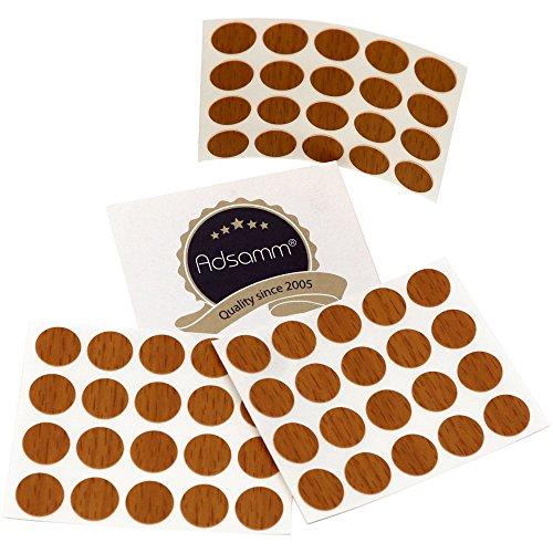 Adsamm® | 60 x Abdeckkappen | Ø 13 mm | Walnuss | rund | 0,45 mm dünne Selbstklebende Möbelpflaster -