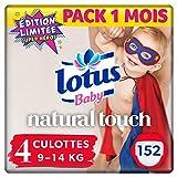 Lotus Baby Natural Touch - Culottes Taille 4 (9-14 kg) - lot de 4 packs de 38 culottes (x152 culottes)