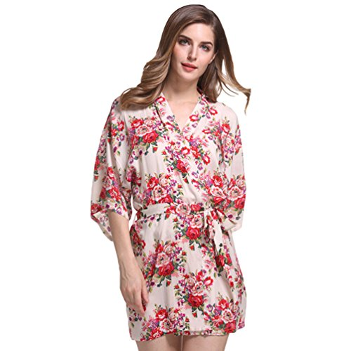 CHENGYANG Estate Kimono Corto per Donna Fiore Stampa Accappatoio Camice da Notte Vestaglia Beige