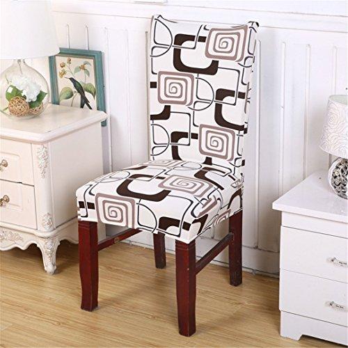 Sechs Esszimmer Stühle (RLYQDDD 1 STÜCK Elastische Spandex Polyester Universal Stuhlabdeckung Vintage Geometrische Schutzhülle Kaffee Haus Esszimmer Stuhl Sitzbezug 6 universal)