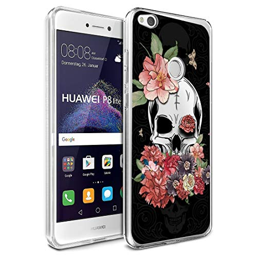 ibel für Huawei P8 lite 2017 Handyhülle,Halloween-Schädel Silikon Crystal Clear Transparent Ultra Slim Flexible Luftkissen Schutzhülle für Huawei P8 lite 2017 Handy Case ()