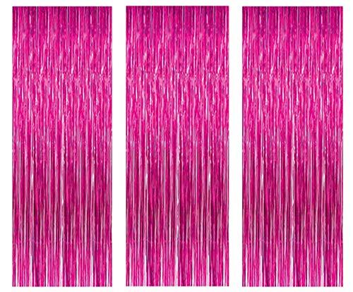 3 Pack Metall Lametta Vorhänge Folie Fransen Schimmer Vorhang Tür Fenster Dekoration für Geburtstag Hochzeit Partei liefert Luftschlangen 3ft*8ft(1m*3m - Stieg ()