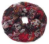 Feelinko Flower-Paisley Print im Tattoo-Style Schal Loop Halstuch Schlauchschal Rundschal Tuch Damen Women, Rot Schwarz, Einheitsgröße